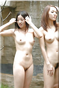 Cute China Chicks Flash their Sweet Pussies: Outdoors Strip