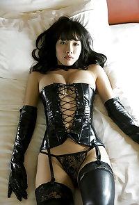 Shiny latex and Spandex Lycra swimsuit Japanese horny