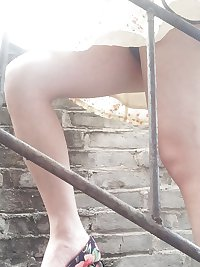 Chinese girl flashing pussy in public